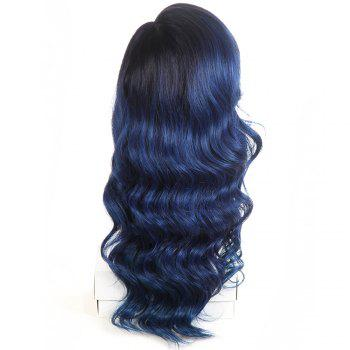 Synthetic Lace Front Long Wavy Wig Ombre color Heat Resistant Fiber Hair Wigs For Women RC0894 - BLUE 22INCH