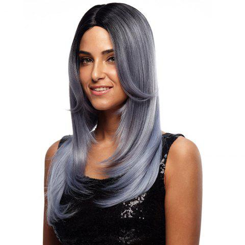 Synthetic Hair Wig Long Straight Ombre 24 Inch RC0670 - BLUE GRAY 24INCH