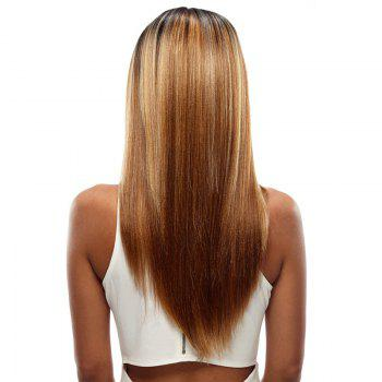 Synthetic Hair Skin Part Lace Front Wig Long Straight Heat Resistant Fiber Ombre Color Wig For Women RC0776 - FLAXEN