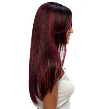 Synthetic Hair Skin Part Lace Front Wig Long Straight Heat Resistant Fiber Ombre Color Wig For Women RC0776 - BURGUNDY