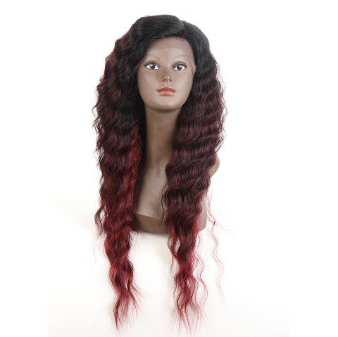 Synthetic Lace Front Long Wavy Wig Ombre color Heat Resistant Fiber Hair Wigs For Women RC0895 - BURGUNDY 28INCH