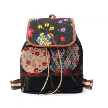 Fashion Women Backpack Bag Cartoon Owl Print