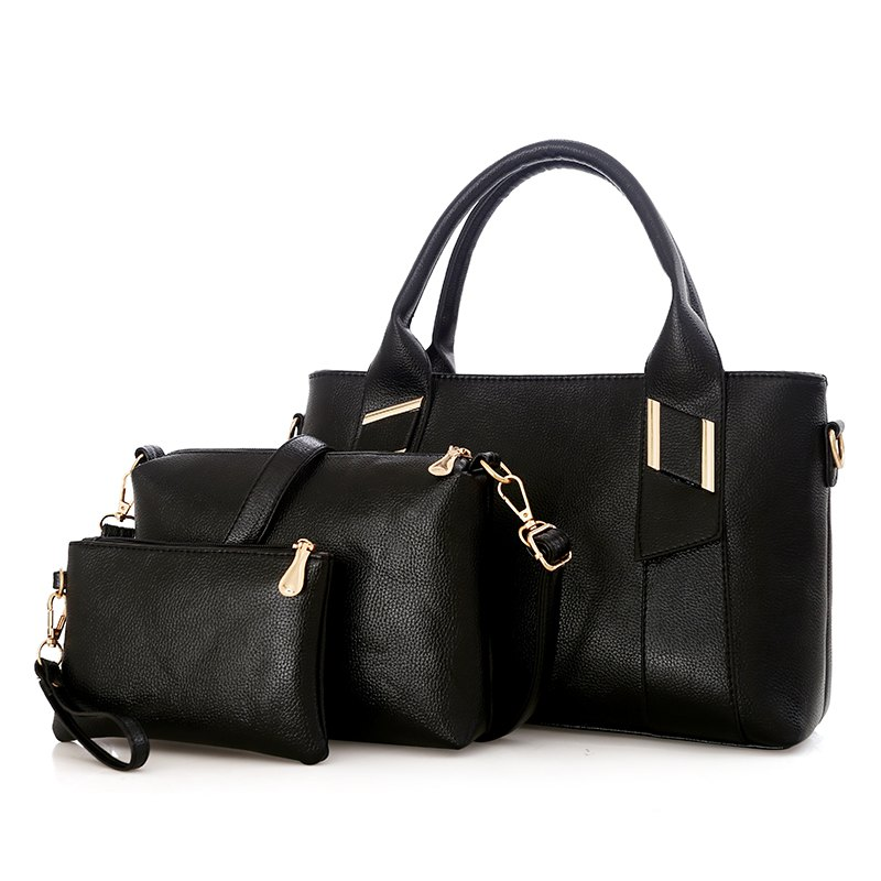 Three Pieces of New Simple Wild Messenger Bag Ladies Handbag - BLACK