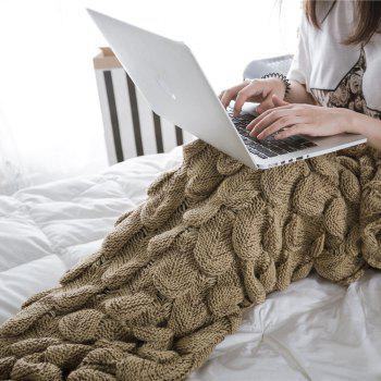 New Products Knitted Fish Scales Design Mermaid Tail Knitted Blankets - COFFEE 90CM X 195CM