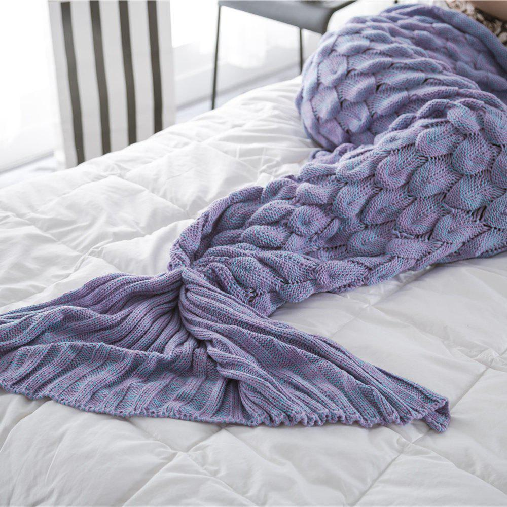 New Products Knitted Fish Scales Design Mermaid Tail Knitted Blankets - PURPLE 60CM X 140CM