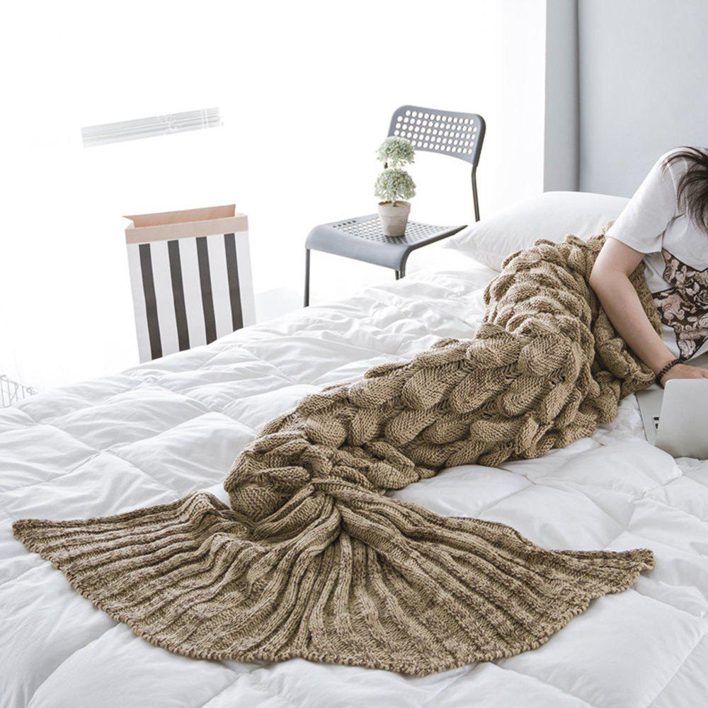 New Products Knitted Fish Scales Design Mermaid Tail Knitted Blankets - COFFEE 60CM X 140CM