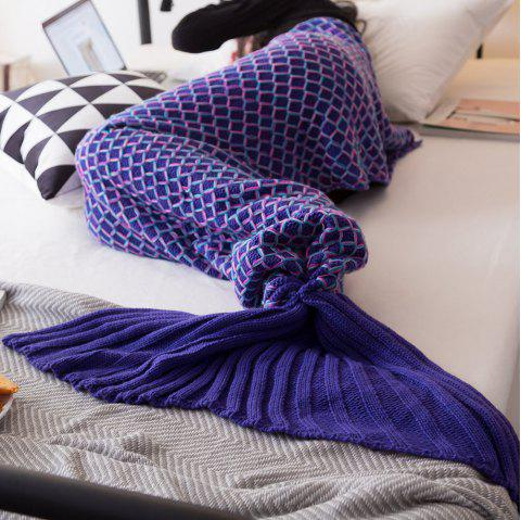 New Product Knitted Multicolored Fish Scales Design Mermaid Tail Blanket - BLUE 70CM X 140CM