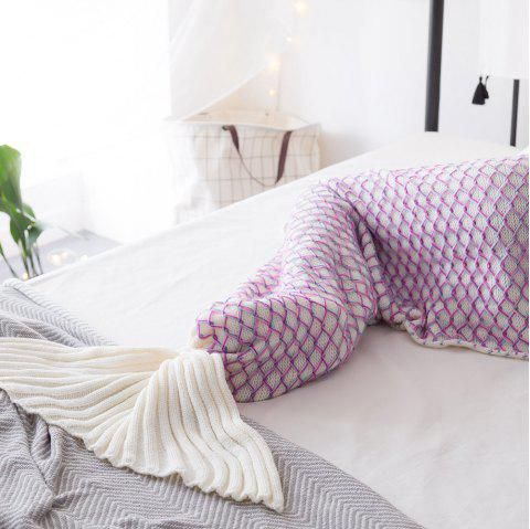 New Product Knitted Multicolored Fish Scales Design Mermaid Tail Blanket - WHITE 80CM X 180CM