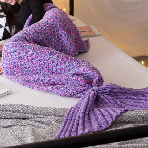 New Product Knitted Multicolored Fish Scales Design Mermaid Tail Blanket - PURPLE 50CM X 90CM