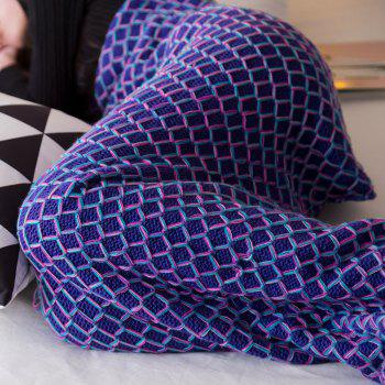 New Product Knitted Multicolored Fish Scales Design Mermaid Tail Blanket - BLUE 80CM X 180CM