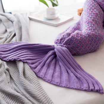 New Product Knitted Multicolored Fish Scales Design Mermaid Tail Blanket - PURPLE 80CM X 180CM