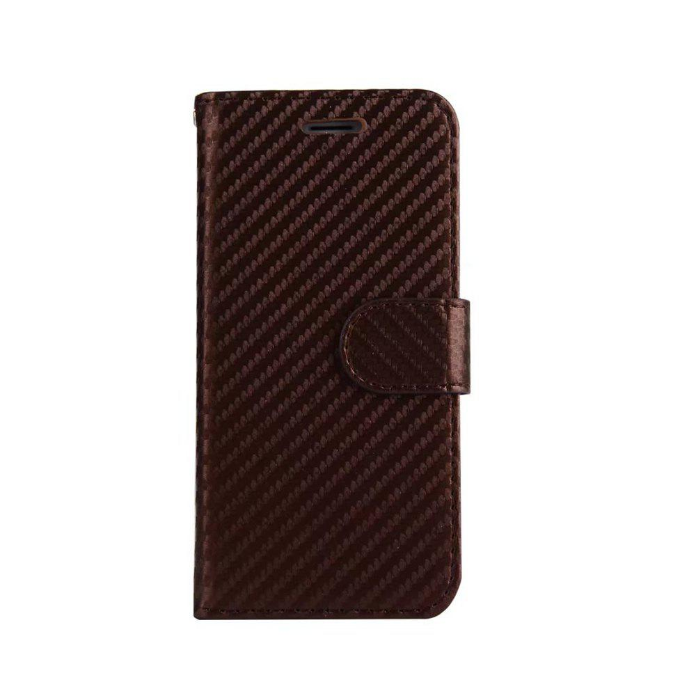Carbon Fiber Pattern Flip PU Leather Wallet Case for iPhone 7 - BROWN