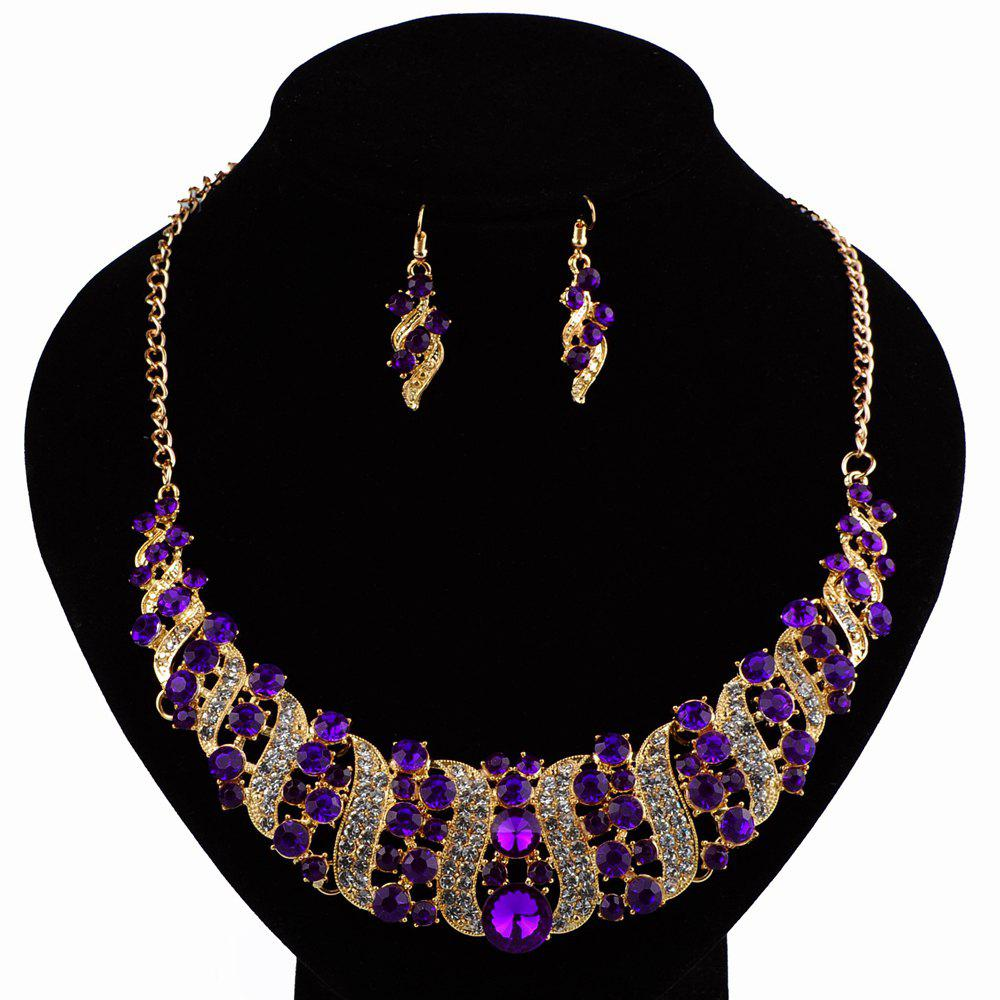 Women Luxury Diamond Necklace Earrings Jewelry Set Fashion Choker Gifts - PURPLE