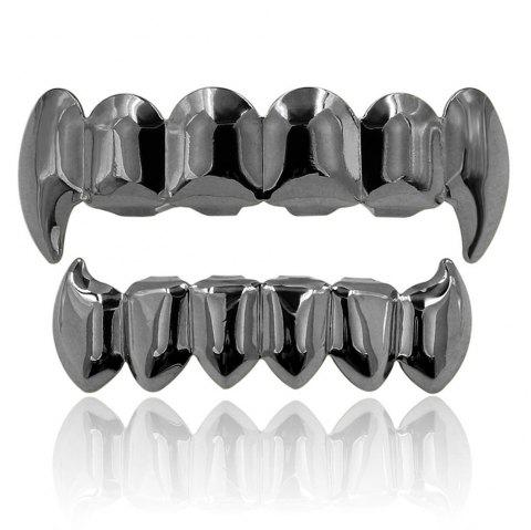 Hip Hop 18K Couleur Plaqué Or Crocs Dents Grillz - pistolet noir