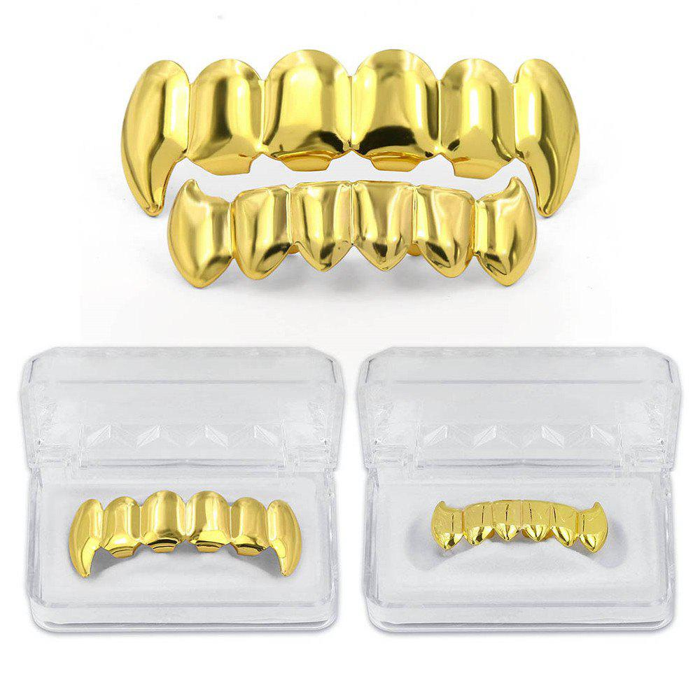 Hip Hop 18K Gold Color Plated Fangs Teeth Grillz - GOLDEN