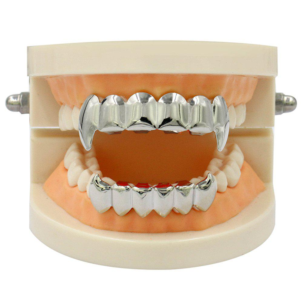 Hip Hop 18K Gold Color Plated Fangs Teeth Grillz - SILVER