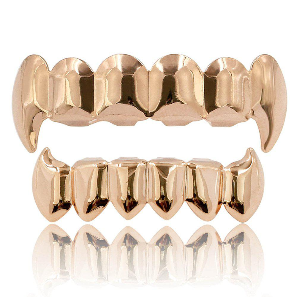 Hip Hop 18K Gold Color Plated Fangs Teeth Grillz - ROSE GOLD