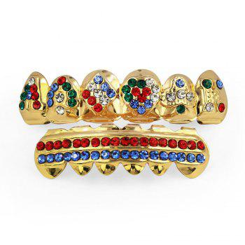 Hip Hop 18K Gold Plated Inlaid Colored D Teeth Grillz - GOLDEN GOLDEN