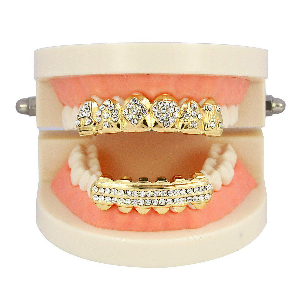 Hip Hop 18K Gold Plated Square A Teeth Grillz - GOLDEN