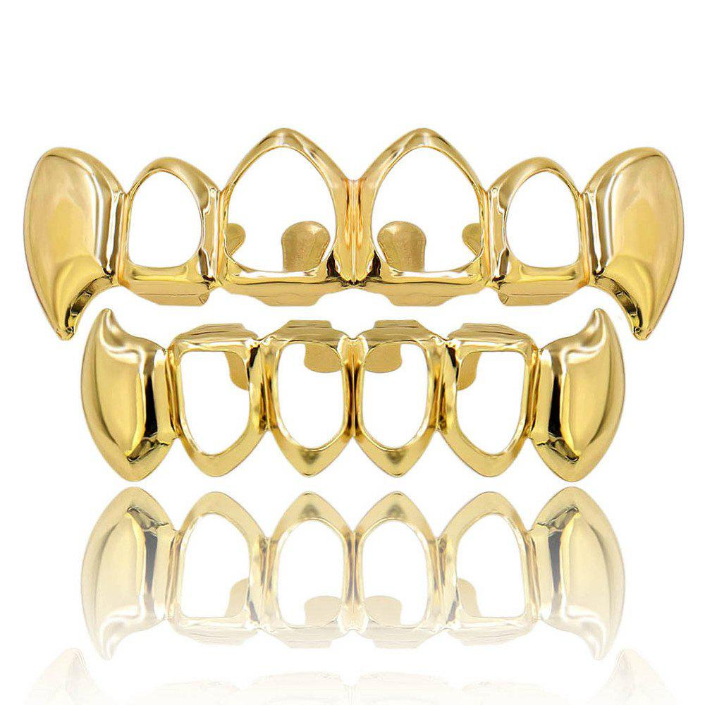Hip Hop 18K Gold Plated Hollow Vampire Fangs Teeth Grillz - GOLDEN