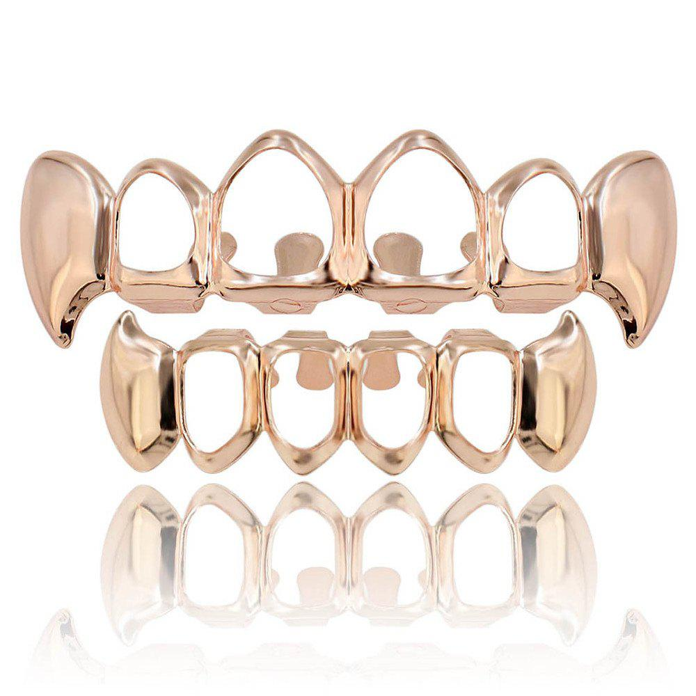 Hip Hop 18K Gold Plated Hollow Vampire Fangs Teeth Grillz - ROSE GOLD