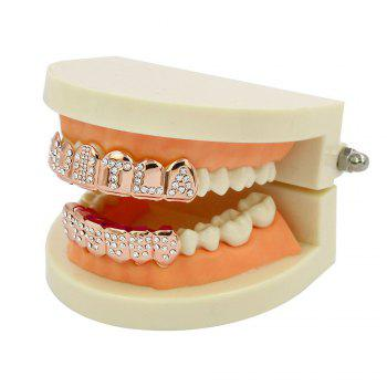 Hip Hop 18K Gold Plated English Letter Teeth Grillz - ROSE GOLD