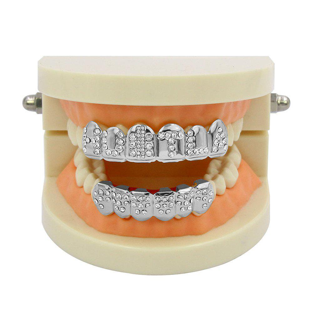Hip Hop 18K Gold Plated English Letter Teeth Grillz - SILVER
