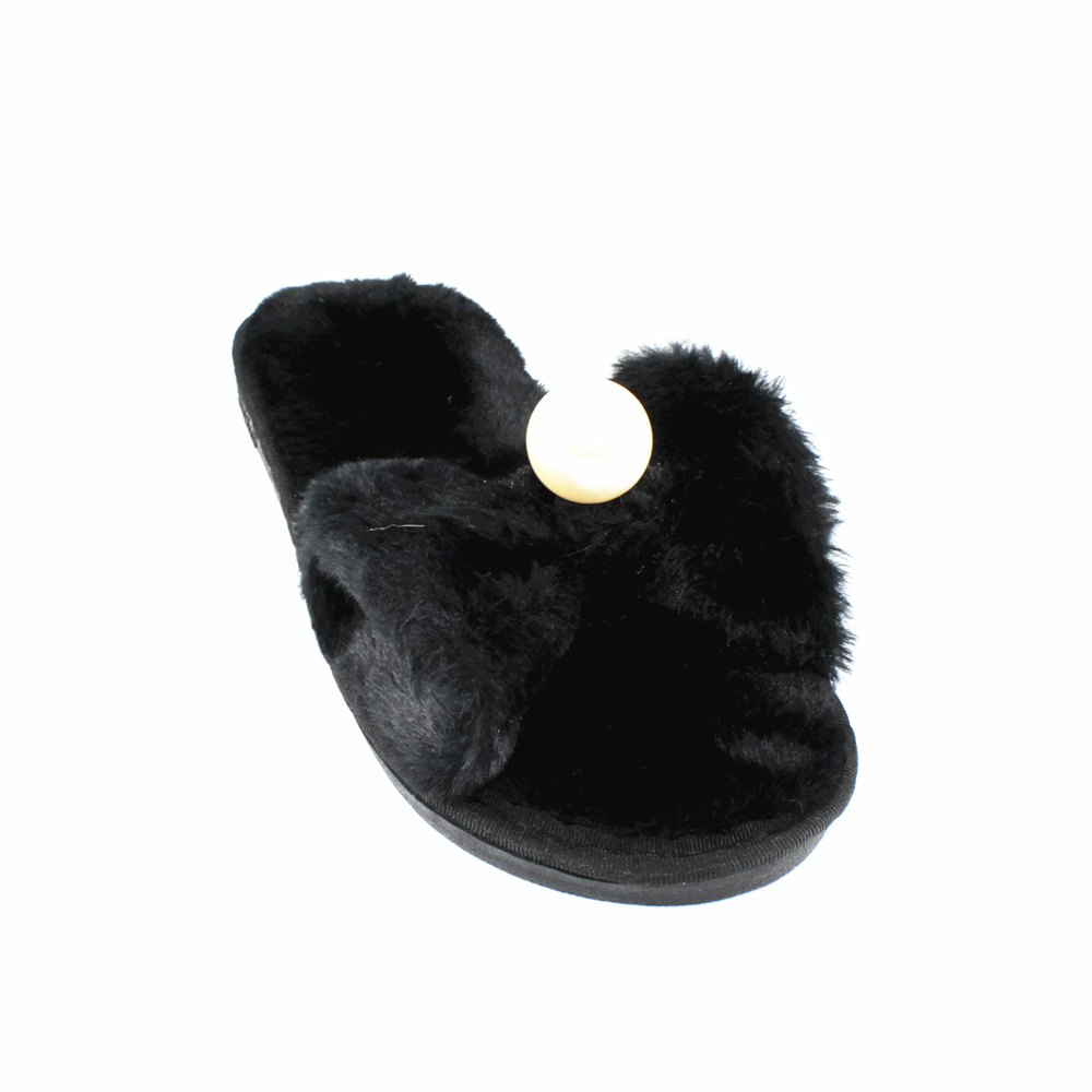 Imitation Pearl Faux Fur Overlay Flat Slippers