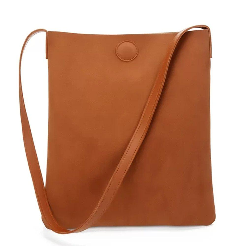Pu Woman's Minimalist Tote Bag - TAN VERTICAL