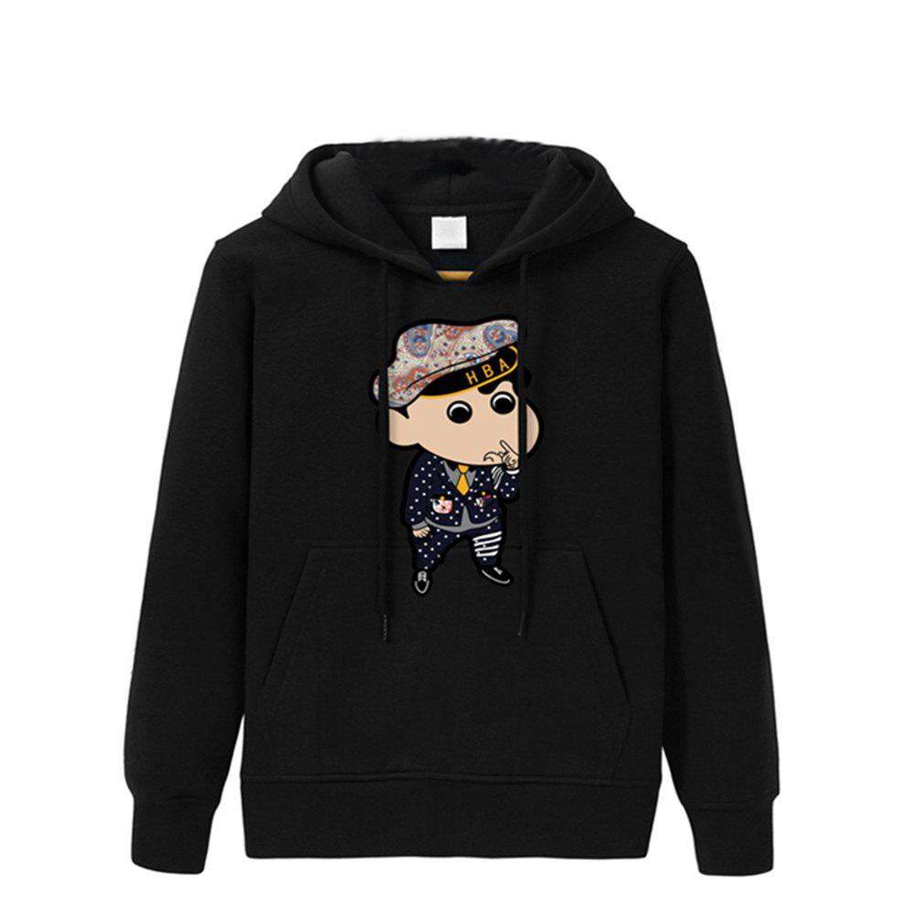 2017 Men's Fashion Cartoon Hoodies - BLACK S