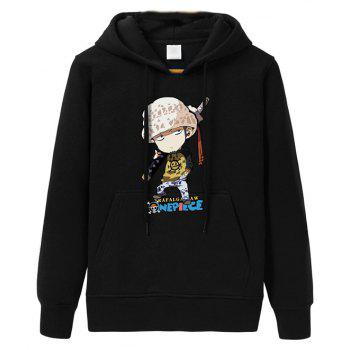 2017 Men's Fashion Cartoon Fleece Hoodie - BLACK BLACK