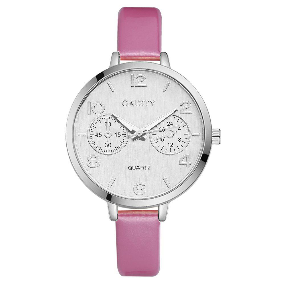 GAIETY G202 Fashion Women's Leather Silver Dial Dress Watch - PINK
