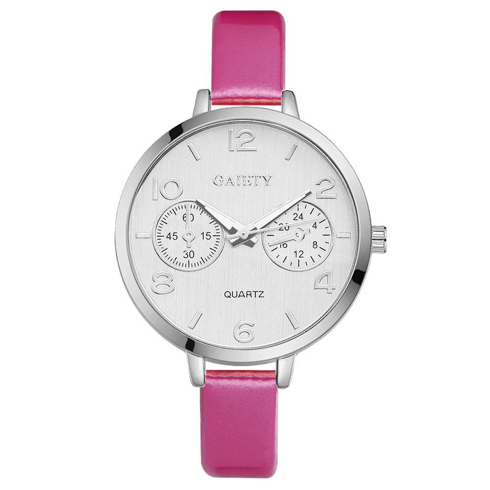 GAIETY G202 Fashion Women's Leather Silver Dial Dress Watch - ROSE RED