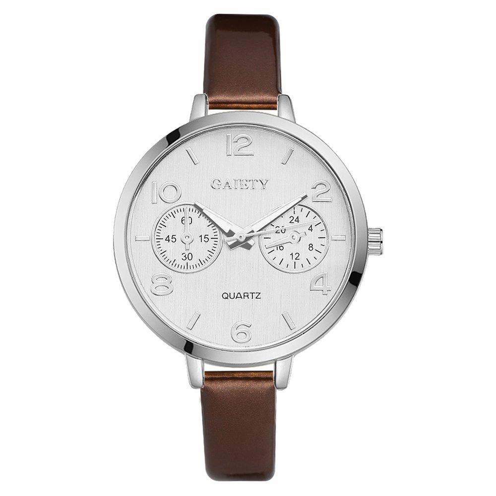 GAIETY G202 Fashion Women's Leather Silver Dial Dress Watch