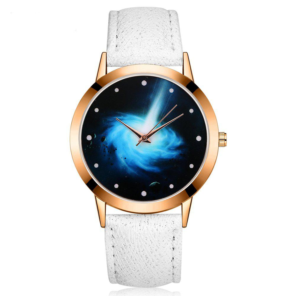 GAIETY G385 Women's Starry Sky Face Leather Band Quartz Watch - WHITE