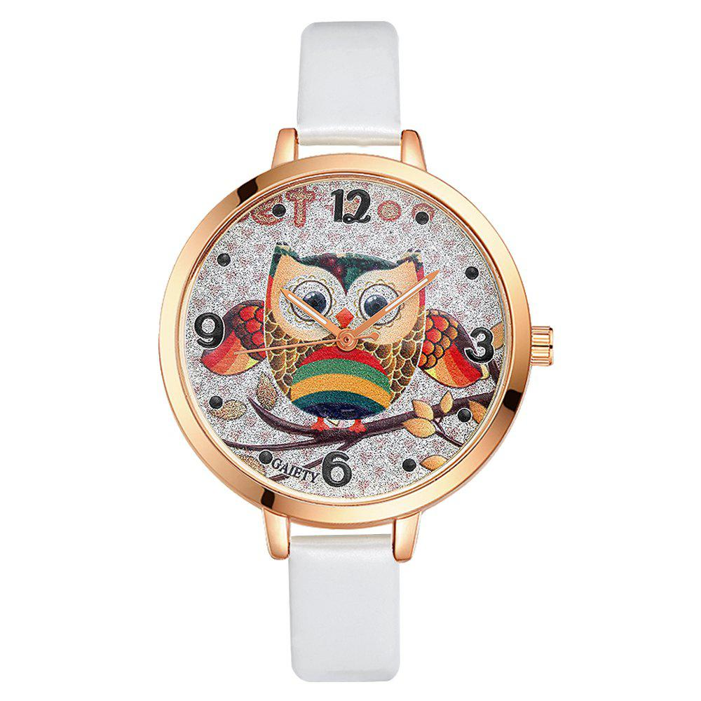 GAIETY G207 Fashion Ladies Leather Band Watch - WHITE