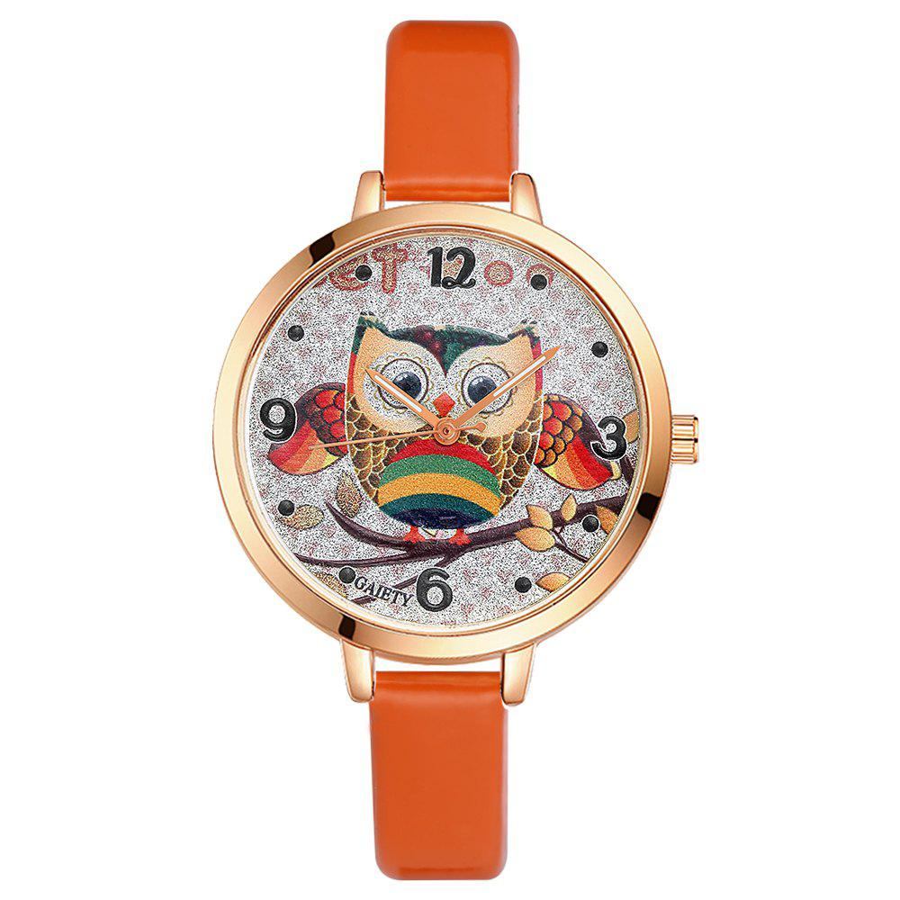 GAIETY G207 Fashion Ladies Leather Band Watch - ORANGE