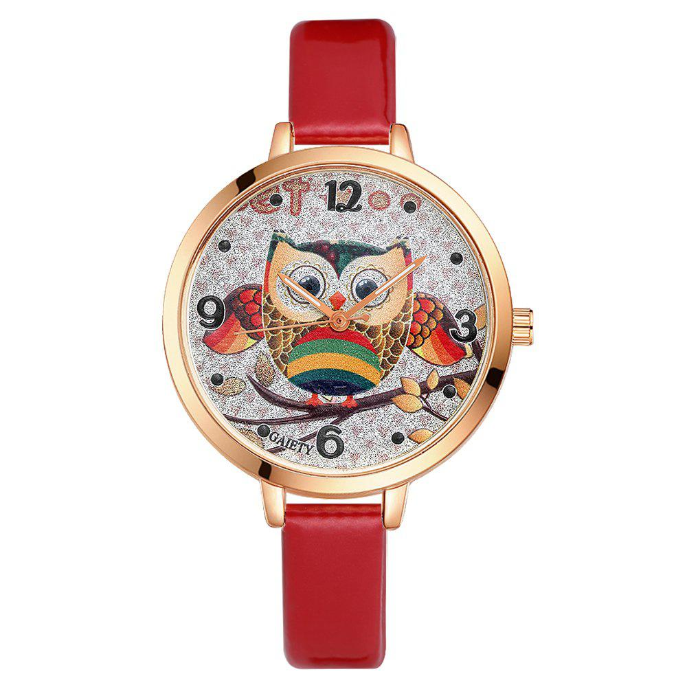 GAIETY G207 Fashion Ladies Leather Band Watch - RED