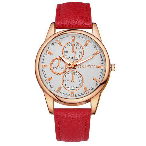 GAIETY G130 Ladies Fashion Leather Watch - RED