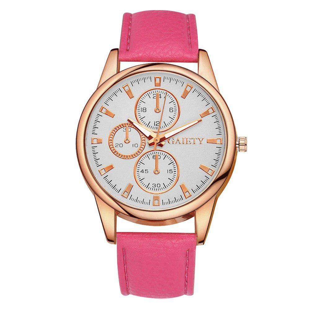 GAIETY G130 Ladies Fashion Leather Watch - ROSE RED