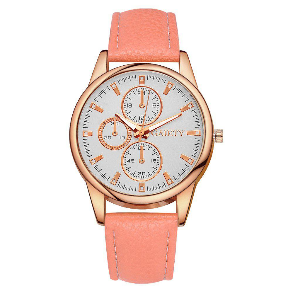 GAIETY G130 Ladies Fashion Leather Watch - ORANGE
