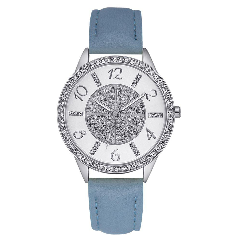 GAIETY G163 Women Fashion Luxury Classic Leather Wrist Watch Lady - BLUE