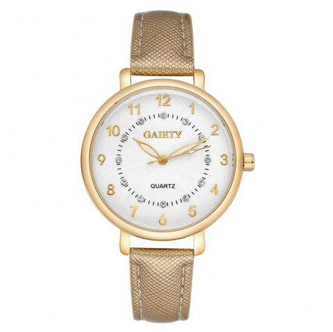GAIETY G146 Ladies Fashion Analog Quartz Leather Wrist Watch with Diamond - GOLDEN