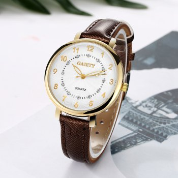 GAIETY G146 Ladies Fashion Analog Quartz Leather Wrist Watch with Diamond - BROWN