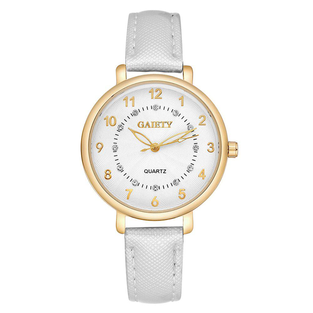 GAIETY G146 Ladies Fashion Analog Quartz Leather Wrist Watch with Diamond - WHITE