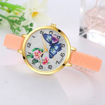 GAIETY G288 Ladies Fashion Analog Quartz Silicone Butterfly Watch - BEIGE