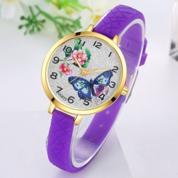 GAIETY G288 Ladies Fashion Analog Quartz Silicone Butterfly Watch - PURPLE