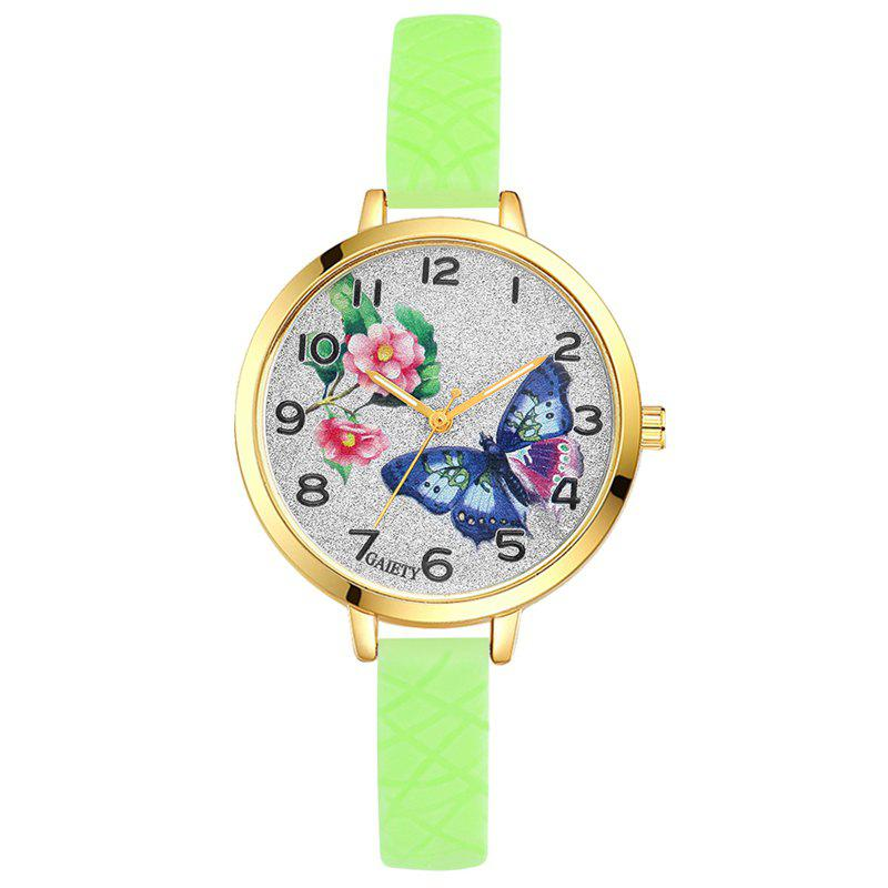 GAIETY G288 Ladies Fashion Analog Quartz Silicone Butterfly Watch - GREEN