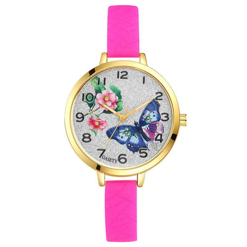 GAIETY G288 Ladies Fashion Analog Quartz Silicone Butterfly Watch - ROSE