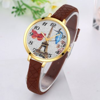 GAIETY G291 Ladies Fashion Tower Analog Quartz Silicone Wrist Watch - BROWN